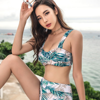VERZY New High Waist Swimsuit Brazili Skirt Bikini Set Women Leaf Print Swimwear Tropical Beach 3