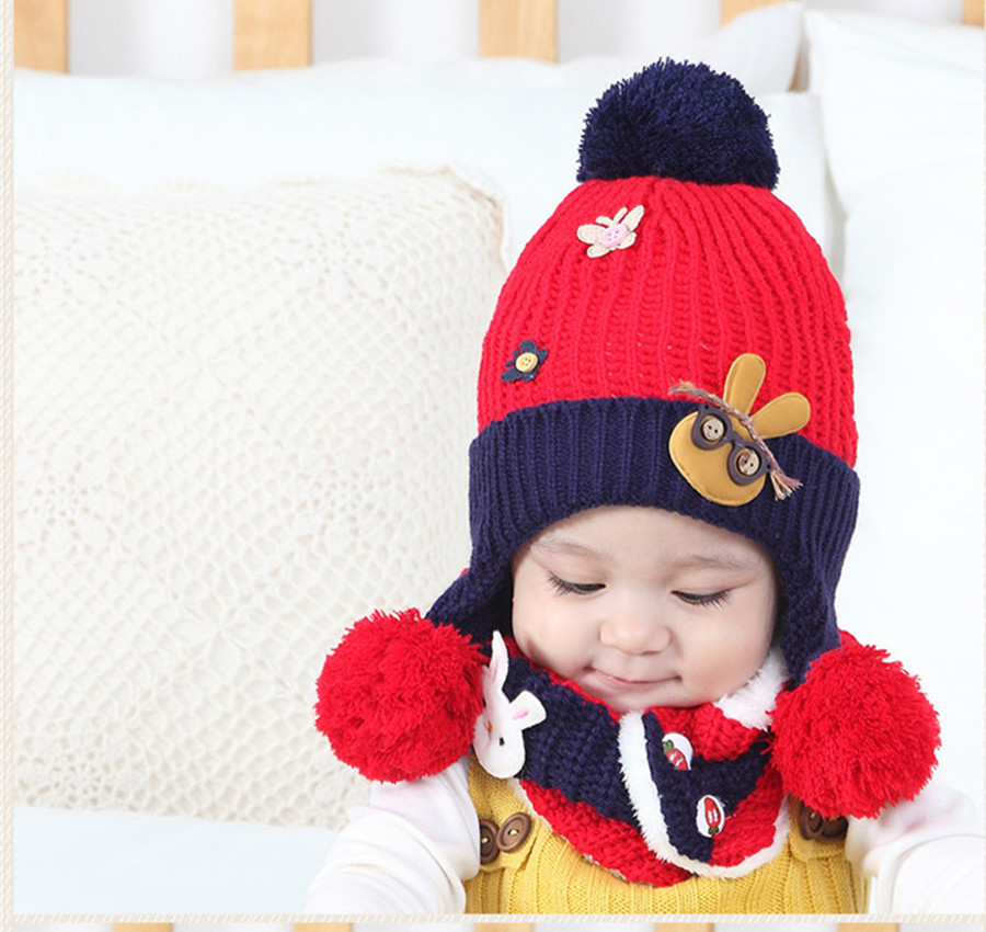Yyun Cute Rabbit Applique Winter Accessories Sets For Kids Girls Hats Scarves Boys Knit Beanie Snood Toddlers Pompom Cap Collar