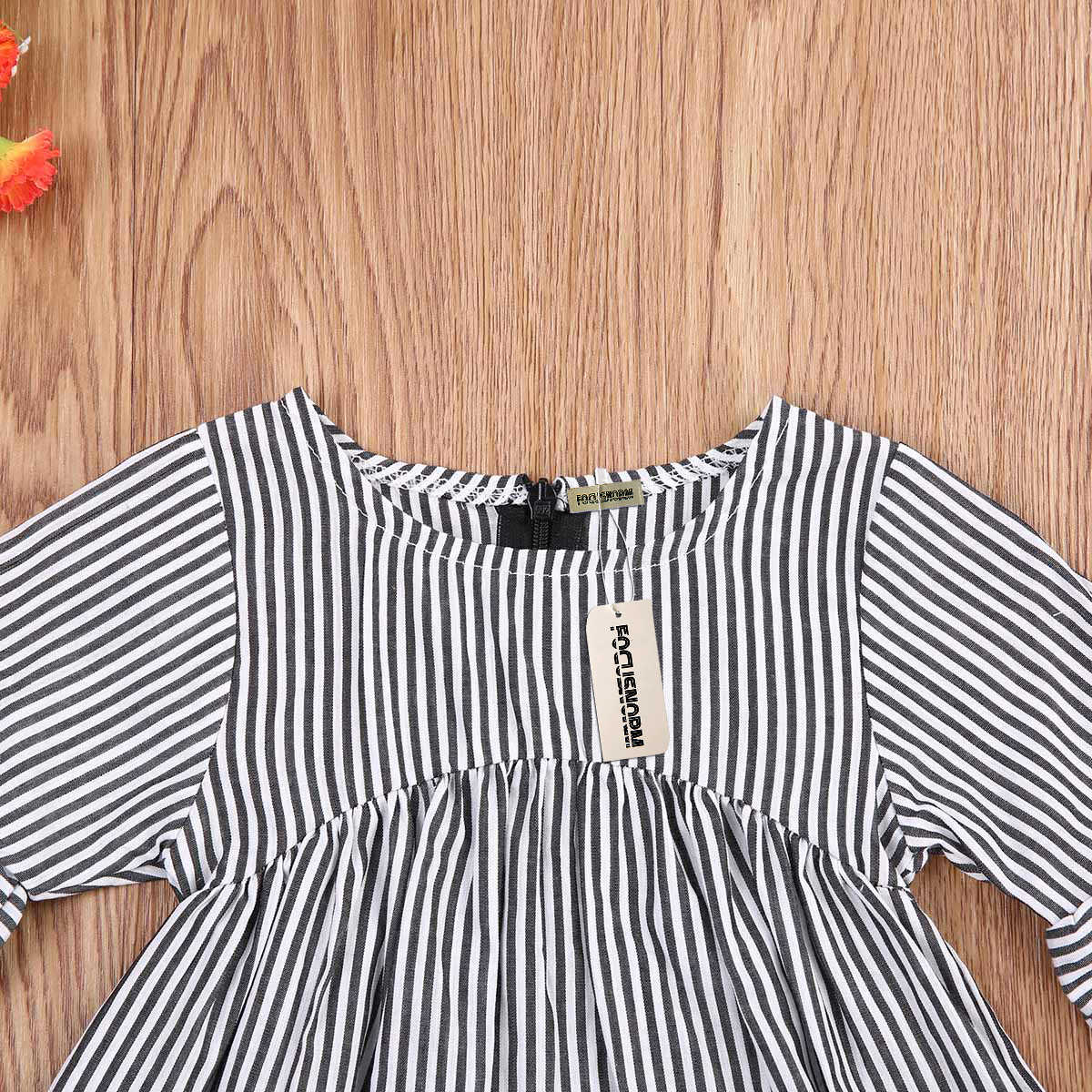 ... Striped Loose Flare Sleeve Cotton T-shirt O-Neck Infant Baby Girl Tops  Casual ...