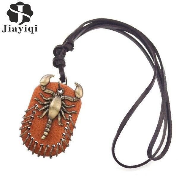 Jiayiqi Vintage Steampunk Leather Necklace Scorpion Collares Necklaces & Pendants Statement Necklace for Women Men Jewelry 2017