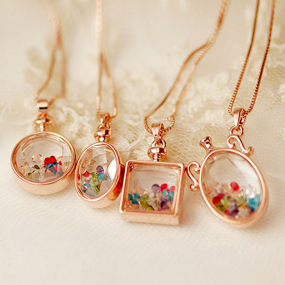 High Quality Rose Gold Color Square Round Magic Wishing Perfume Multicolor Crystal Glass Bottle Pendant Necklace