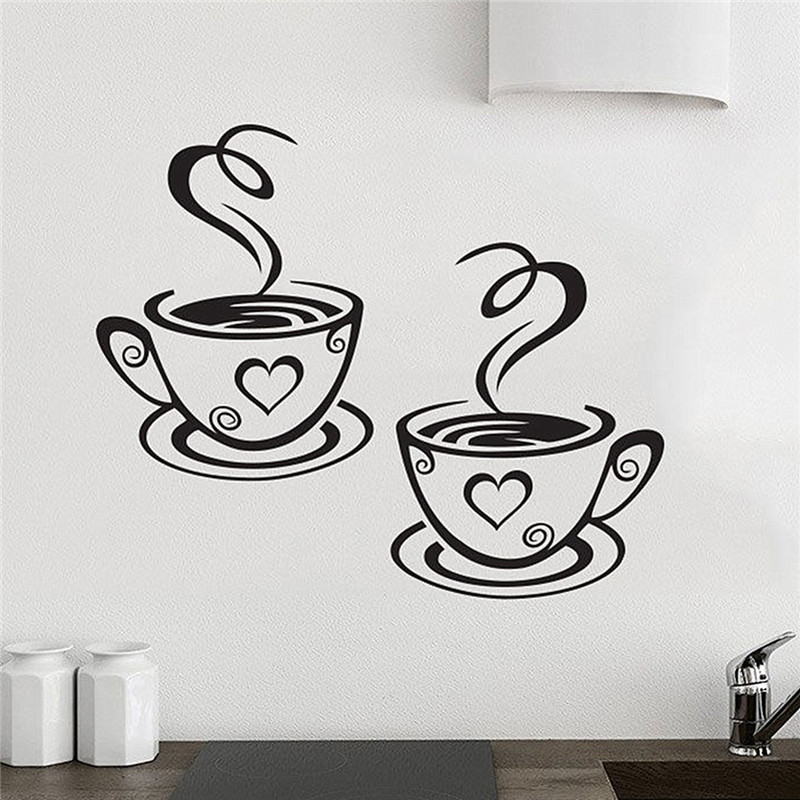 New Arrival Beautiful Design Coffee Cups Cafe Tea Wall Stickers Art Vinyl  Decal Kitchen Restaurant Pub