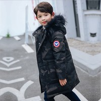 Children winter thick jackets real fur hooded long coat for kids big school 6 8 10 14 boy 30 Russia winter clothing overcoat