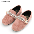 CCTWINS KIDS spring autumn toddler fashion rhinestone slip-on for children baby girl flat pu leather kid brand pink shoe G970