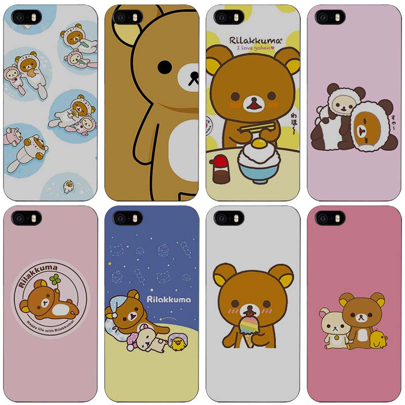 separation shoes 6a419 03afd US $2.98 |rilakkuma Black Plastic Case Cover Shell for iPhone Apple 4 4s 5  5s SE 5c 6 6s 7 Plus-in Half-wrapped Case from Cellphones & ...