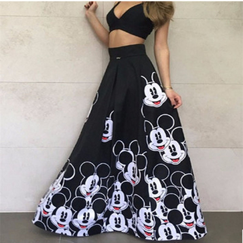 Cartoon Skirts Maxi Pleated-Printed Elastic Elegant Mickey Striped High-Waist Fashion