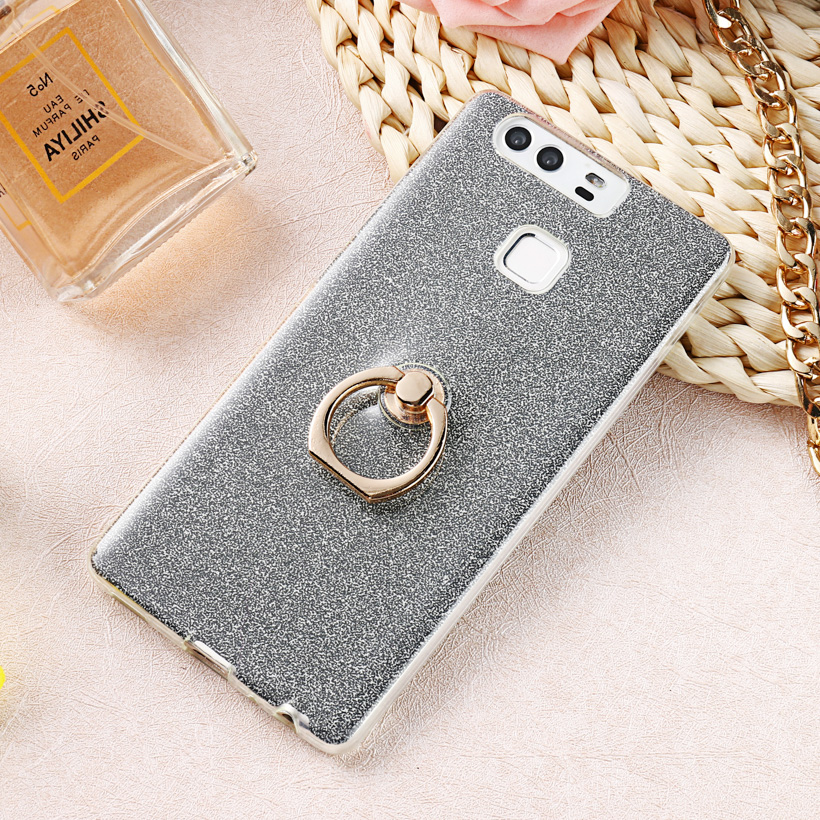 Luxury Finger Ring Glitter Case For Huawei Honor 20 Pro Cases Soft TPU Phone Cover For Huawei P9 Nova 5 Pro Back Coque Bumper