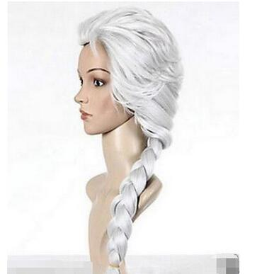ePacket Free shipping New Silvery white movie frozen snow woven font b anime b font wigs