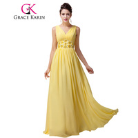 Grace Karin V Neck Long Prom Dress Yellow Sleeveless Formal Party Prom Gowns Chiffon Robe De