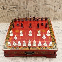 Antique Three-dimensional Chinese Chess Terracotta Warriors Chinese Chess Nostalgic Desktop Wooden Chessboard Medium Yernea hot chess game collectibles vintage chinese terracotta warriors 32 chess set