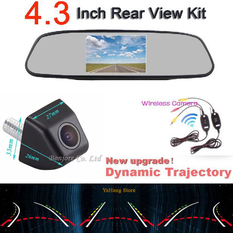 Wireless Parking Car 4.3 ''car mirror monitor& Intelligent Dynamic Trajectory Tracks Rear View Camera CCD Reverse Backup Camera купить