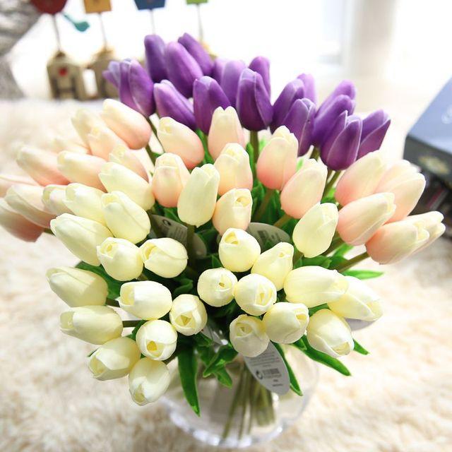 Cammitever 6 Sztuk Sztuczne Tulipany Fałszywe Kwiaty Pu Flores Home