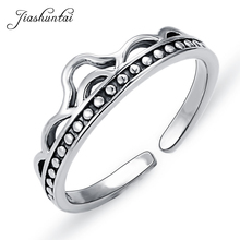 JIASHUNTAI 100% 925 Sterling Silver Rings For Women Princess Crown Romantic Wedding Ring Trendy Fine Jewelry Adjustable