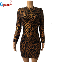 Women New Style Leopard Open Back Celebrity Bandage Dress Gold Long Sleeve Elegant Bodycon Dress Drop