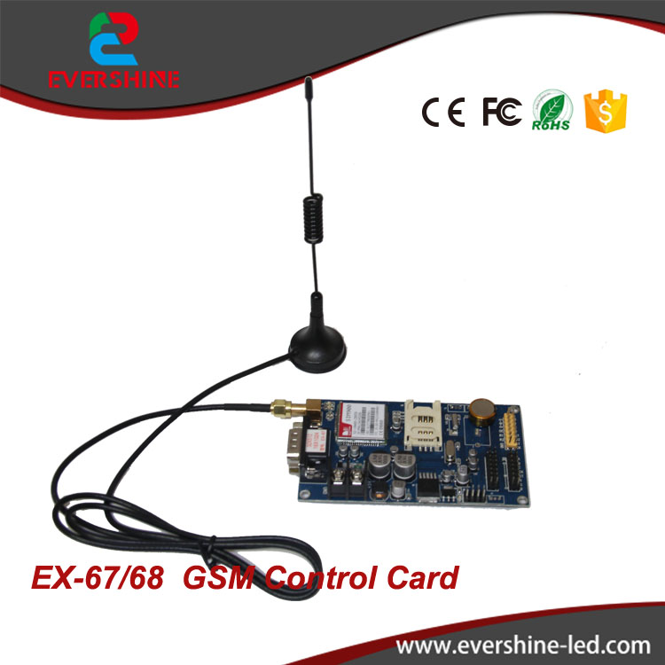 EX-67(EX-6CN) GPRS Wireless LED control card 1024*16pixels support Single&dual color Wireless led sign board module controller fk cx5 rj45 netwok and usb led control card 2408 48pixels support single