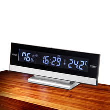 EAAGD Large LCD Display Desktop Snooze Alarm Clock Back light Temperature Humidity Electronic or Battery Operate Home Decorative