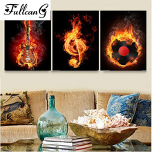 FULLCANG diamond embroidery triptych painting cross stitch flame music full square rhinestone mosaic needlework E1109
