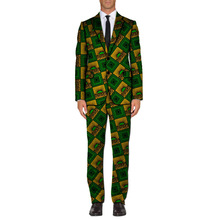 Ankara fashion Mens African suit handsome bright wax prints blazer with pant 2 pieces set tailor-made africa clothing
