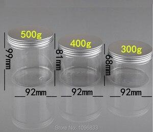 Image 1 - 300g 400G 500G Plastic Jar with Aluminum Lid,  Plastic Cream Jar, Good Sealing Pot,  Plastic Packaging Container, 10pcs/Lot