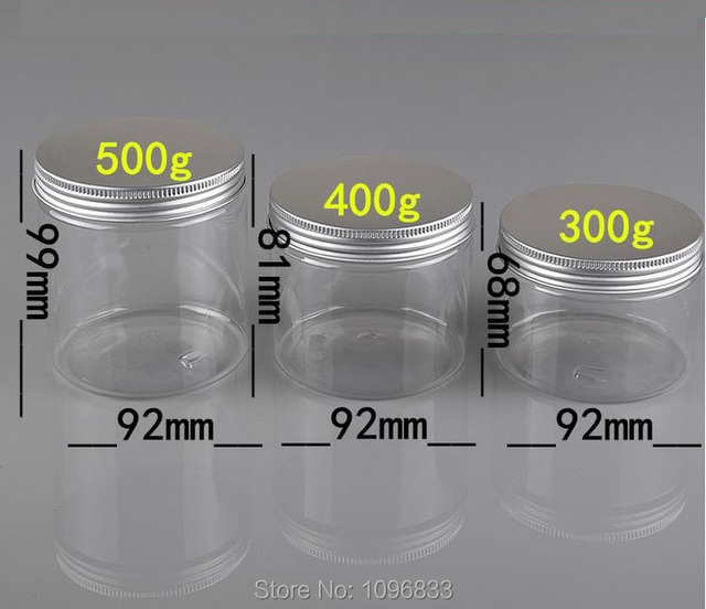 300g 400G 500G Plastic Jar with Aluminum Lid,  Plastic Cream Jar, Good Sealing Pot,  Plastic Packaging Container, 10pcs/Lot