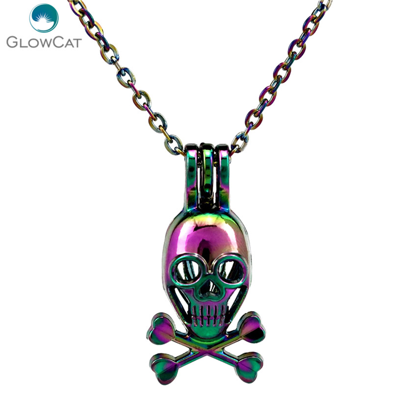 C214 COLORS Rainbow Multicolor Skull Beads Cage Locket Pendant Necklace Aroma Essential Oil Diffuser Locket Necklace