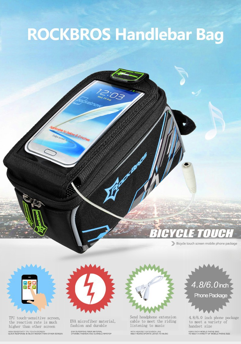 Rockbros Touch Screen Bicycle Bag For 60 6inch Phone Iphone 6 7 017 1bk Mtb Front Tube Frame Inch Waterproof
