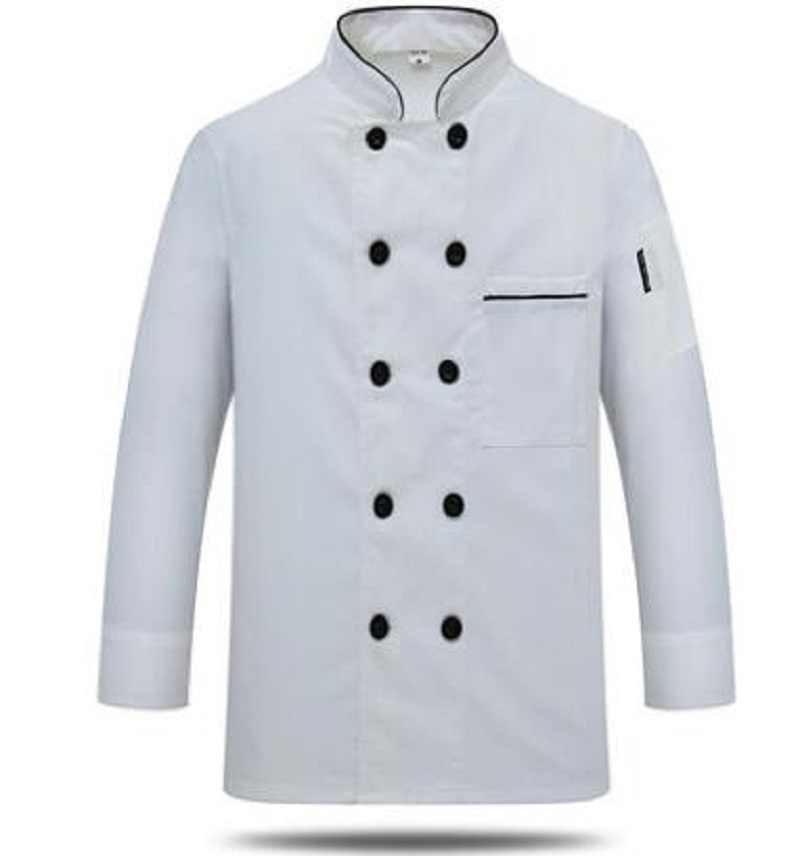新しいシェフの長袖通気性衣装夏着用作業服の男性と女性オーバーオールコートホテルシェフ黒ジャケット制服