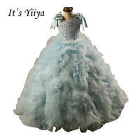 It's YiiYa O neck Zipper Lace Bow Flowers Tiered Embroidery Trailing Gown Ball Gown Princess Flower Girls Dress Communion TS282