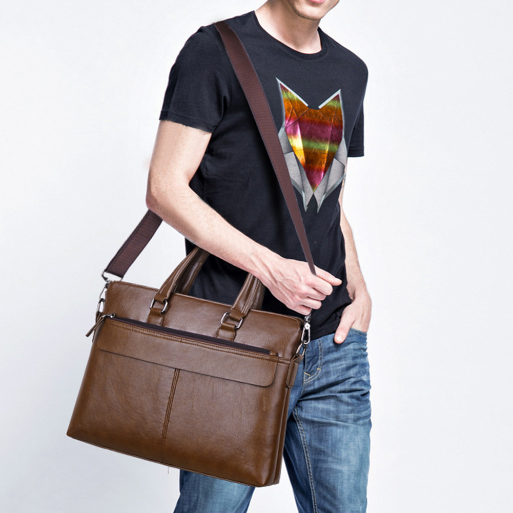 2019 Casual Men's Briefcase Pu Leather Luxury Brand Mens Laptop Bag Fashion Large Male Travel Shoulder Bags Business Men Tote