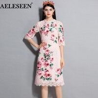 AELESEEN 럭셔리 여성 레이스 드레스 2018 여름 새로운 반 소매 핑크 패션 아플리케 장미 나비 인쇄 우아한 드레