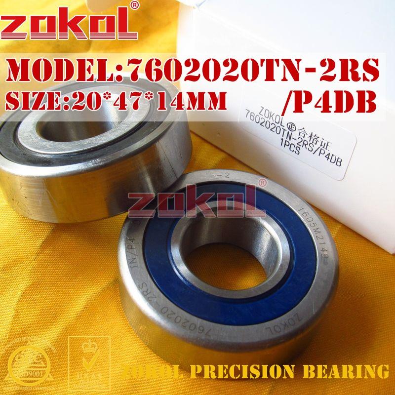 ZOKOL bearing 7602020 TN 2RS P4DB C 760204 2RSDB Axial Angular Contact Ball Bearing 20*47*14mm stainless steel angular contact ball bearing 7204 s7204 size 20 47 14mm