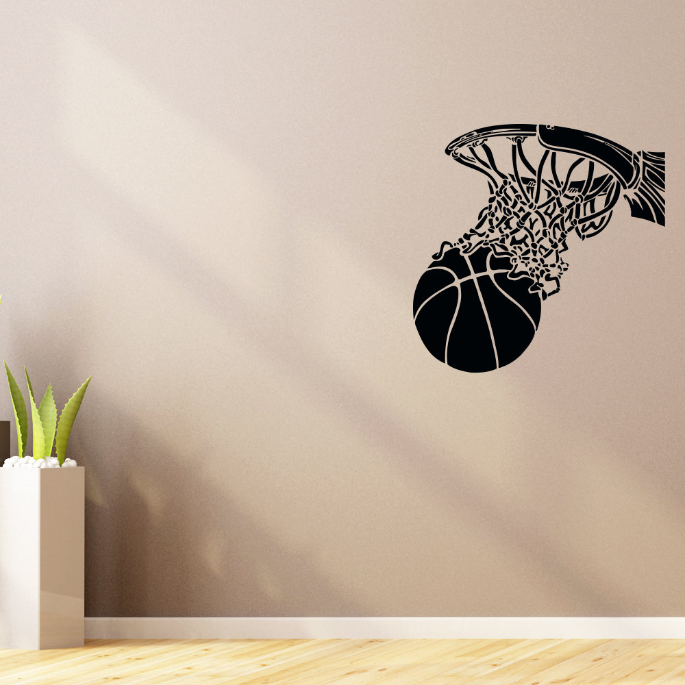 Cool Basketball Hoop Sport Wall Stickers Vinyl Home Deccoration Accessories Boys Bedroom Vogue Pattern Adhesive Art Mural SYY212