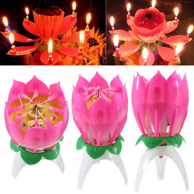 Magic Musical Lotus Flower Flame Candle Birthday Cake Party Lamp Surprise Gift Lights Rotation Decoration Open