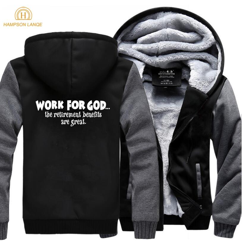 Image 3 - Work For God The Retirement Benefits Are Great Super Jesus Christ  Hoodies Men 2019 Winter Warm Fleece Fashion Sweatshirts Jacketfashion  hoodie menhoodies mensweatshirt jacket