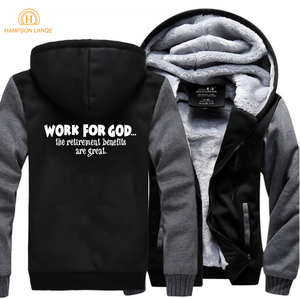 Image 3 - Work For God The Retirement Benefits Are Great Super Jesus Christ Hoodies Men 2019 Winter Warm Fleece Fashion Sweatshirts Jacket