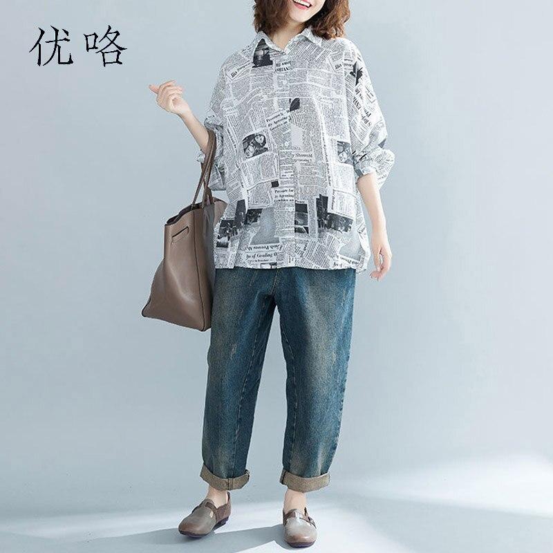 Plus Size Women   Blouse     Shirt   Autumn Vintage Batwing Sleeve Female Clothes Oversized Cotton Cardigan Tunic Tops 4XL 5XL 6XL 2019