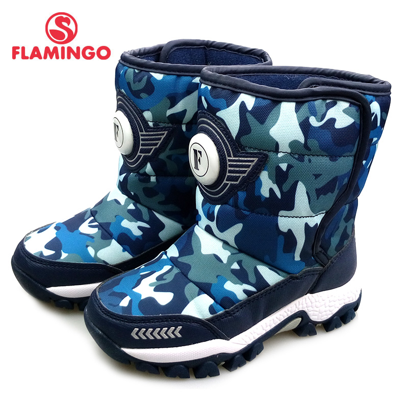 FLAMINGO Winter High Quality Mid-Calf Navy Wool Keep Warm Kids Shoes Anti-slip Snow Boots for Boy Free Shipping 82D-NQ-1041 cosway nq