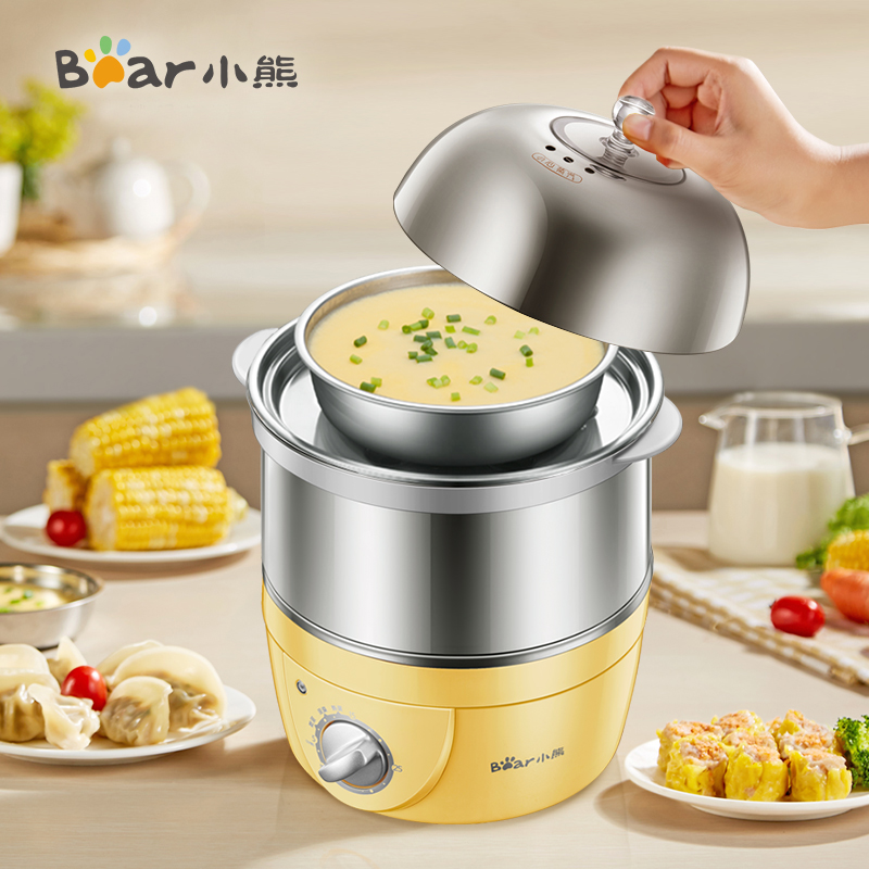 Multifunctional Double Layer Egg Cooker Domestic Timing All Stainless Steel Egg Steaming Machine Automatic Power Outage cukyi double layer multi function electric egg cooker boiler stainless steel automatic power off mini