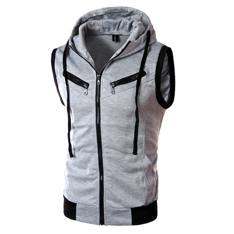2018 Mens Sleeveless Hoodies Fashion Casual Zipper Hooded Sweatshirt Men bodybuilding   tank     top   sporting Shirt waistcoat vest