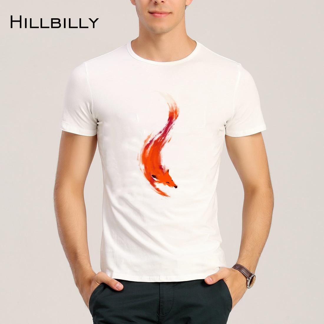 2017 Hillbilly Man Summer New Fashion Red Fox Printed T shirt Modal O-Neck Broadcloth Man Ordinary Casual T-shirt Street Wear