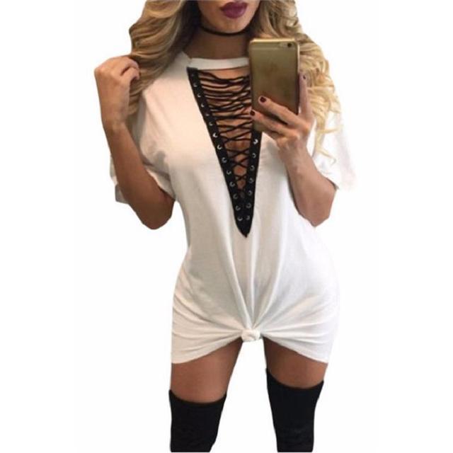 d8c6e67f66 White Lace Up Half Sleeves Tee Dress Deep V-neck Loose Casual Women s Summer  Style 2017 T-shirt Dresses Vestidos De Renda