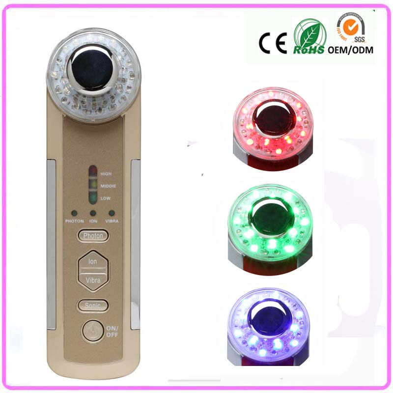 Home Use Personal Skin Beauty Care 3mhz Ultrasound Ultrasonic Face Clean 3 Led Light Photon Vibration Facial Beauty Instruments mythos clean skin купить оптом