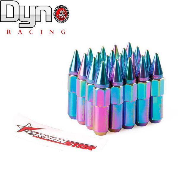 CARRERAS de DYNO-NEW Hot RYANSTAR Auto Racing tuercas de las ruedas + 20 unids pico + pegatinas longitud 60mm p12x1.5 neo cromo y 12x1.25