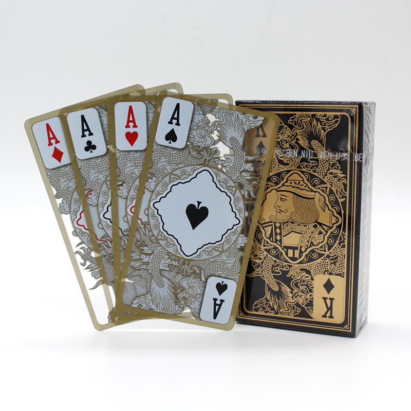 High Quality Plastic PVC Poker Waterproof Transparent Gold Edge Dragon Pattern Playing Cards Creative Gift Poker
