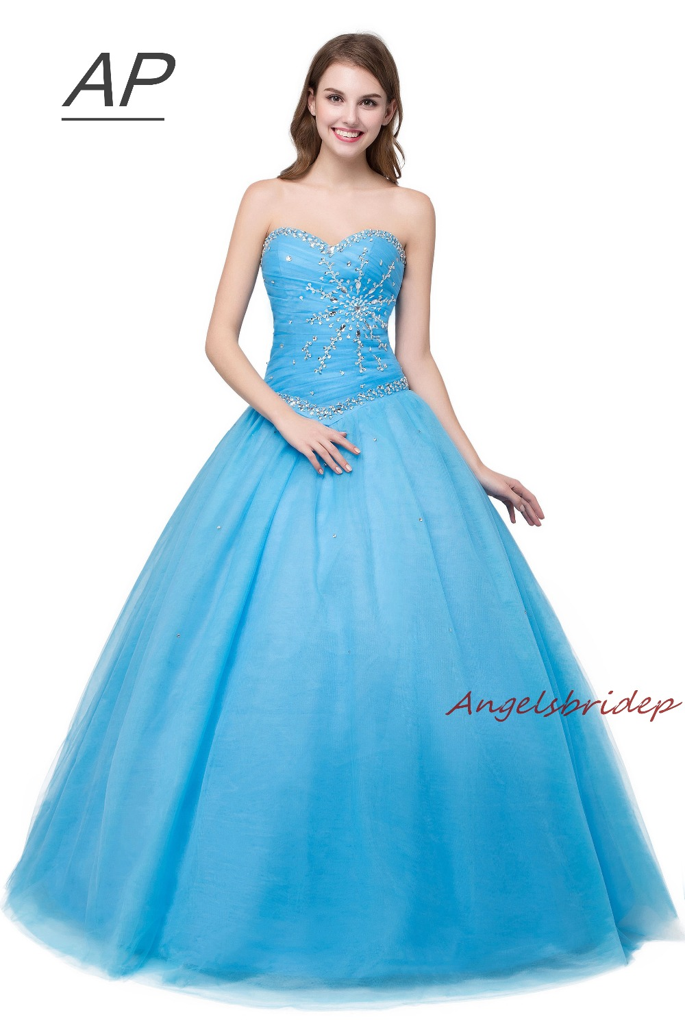 ANGELSBRIDEP Luxury Sweet 16 Ball Gowns Quinceanera Dresses Sweetheart Crystal Vestidos De Debutante Curto Formal Party Gown Hot