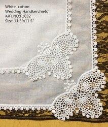 Fashion Women's Handkerchiefs 48PCS/lot 11.5White 100%Cotton Wedding Handkerchiefs Embroidered lace Edges Hankies For Occasions