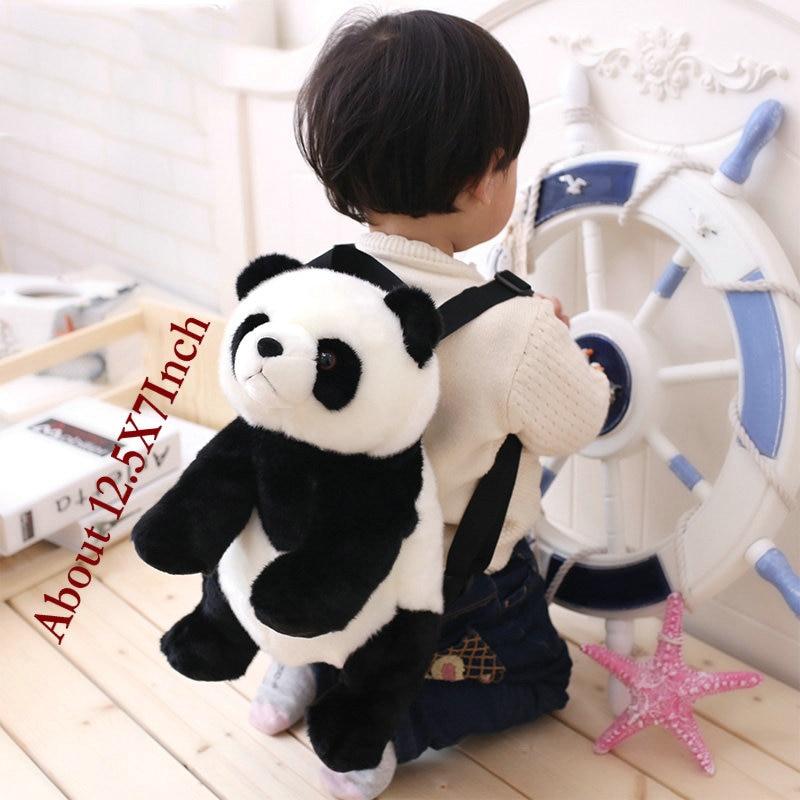 32cm Panda Backpack Girls Boys Plush Adjustable Schoolbags Stuffed Animal Bag Kindergarten Plush Backpack Toys Children's Gift