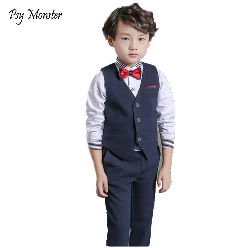 Kids Wedding Suit Baby Boys Gentlemen vest + pants 2 pcs British Style Prince Clothes Sets Children Boys Trousers Formal Suit A1