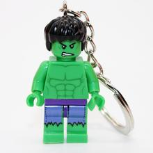 Hulk DIY Customize Minifigures Key Chain Key Ring Keychains Super Heroes TMNT SWAT Star Wars Building Blocks Bricks Toys