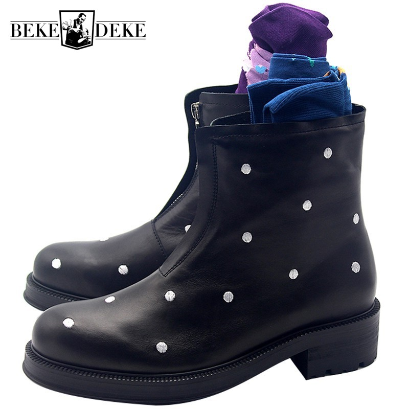 Italy Runway Polka Dot Embroidery Mens Thick Platform Snow Ankle Boots Gothic Zipper Round Toe Safety Shoes High Top FootwearItaly Runway Polka Dot Embroidery Mens Thick Platform Snow Ankle Boots Gothic Zipper Round Toe Safety Shoes High Top Footwear